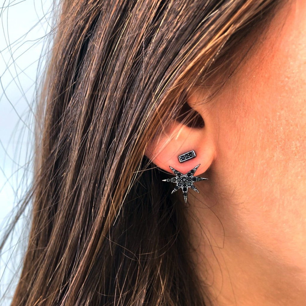 Feronia - Front Back Glimps Earrings Black Cz Rhodium Plated Silver Earring