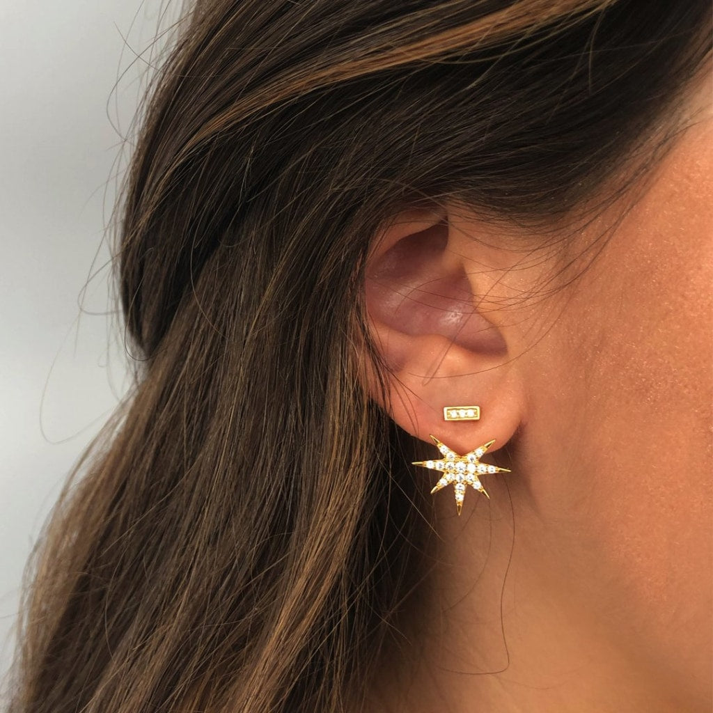 Feronia - Front Back Glimps Earrings White Cz Gold Plated Silver Earring