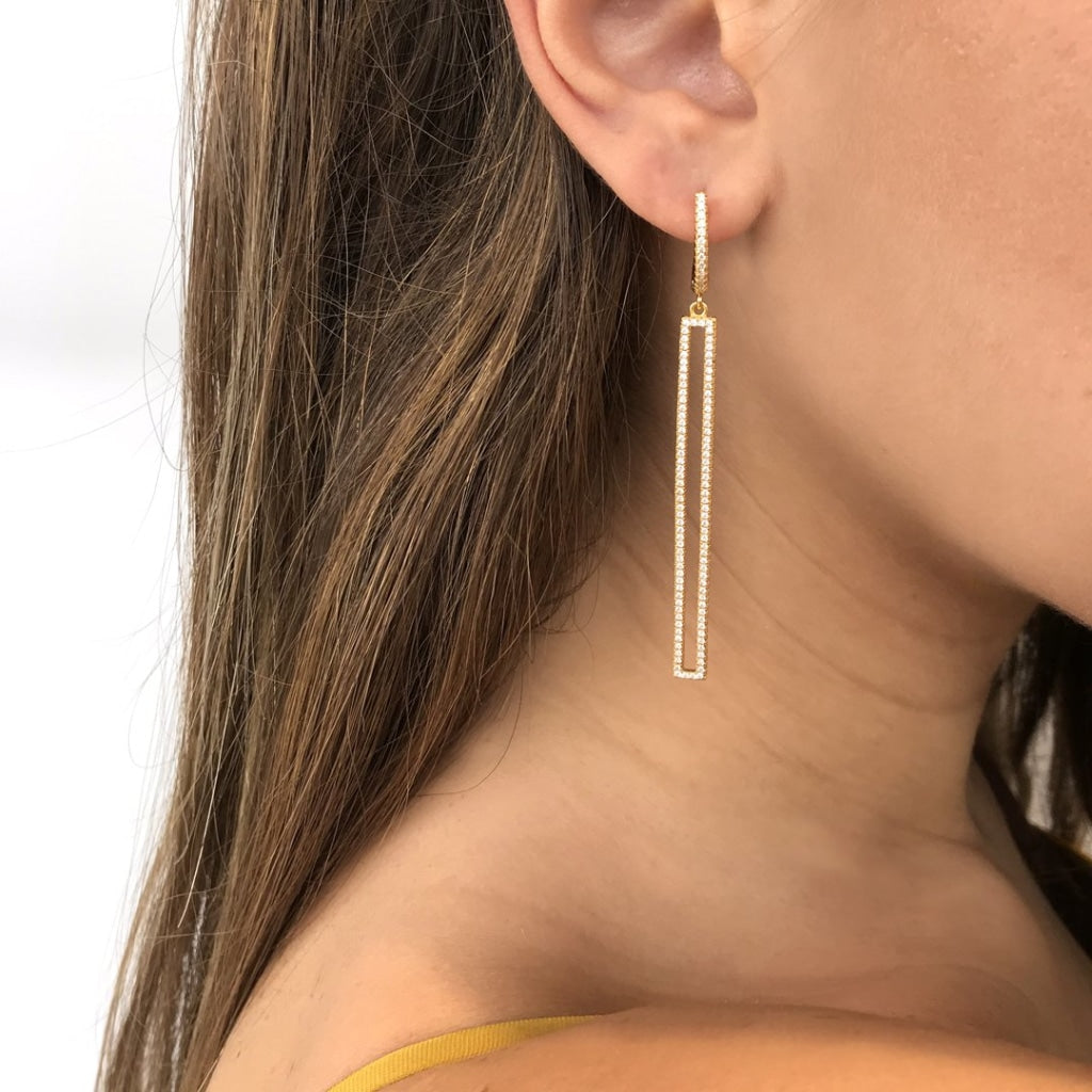 Feronia - Geometrically Earrings White Cz Gold Plated Silver Earring