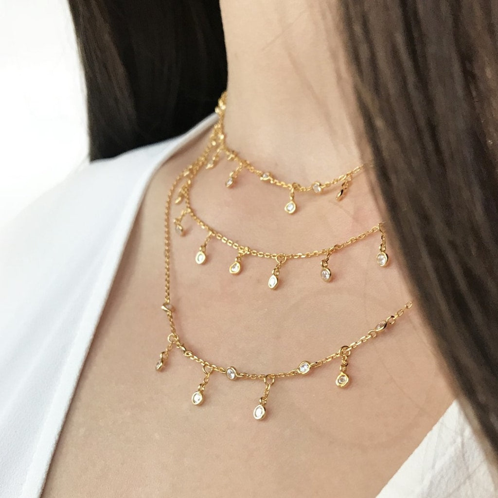 Feronia - Rain Short Necklace White Cz Gold Plated Silver