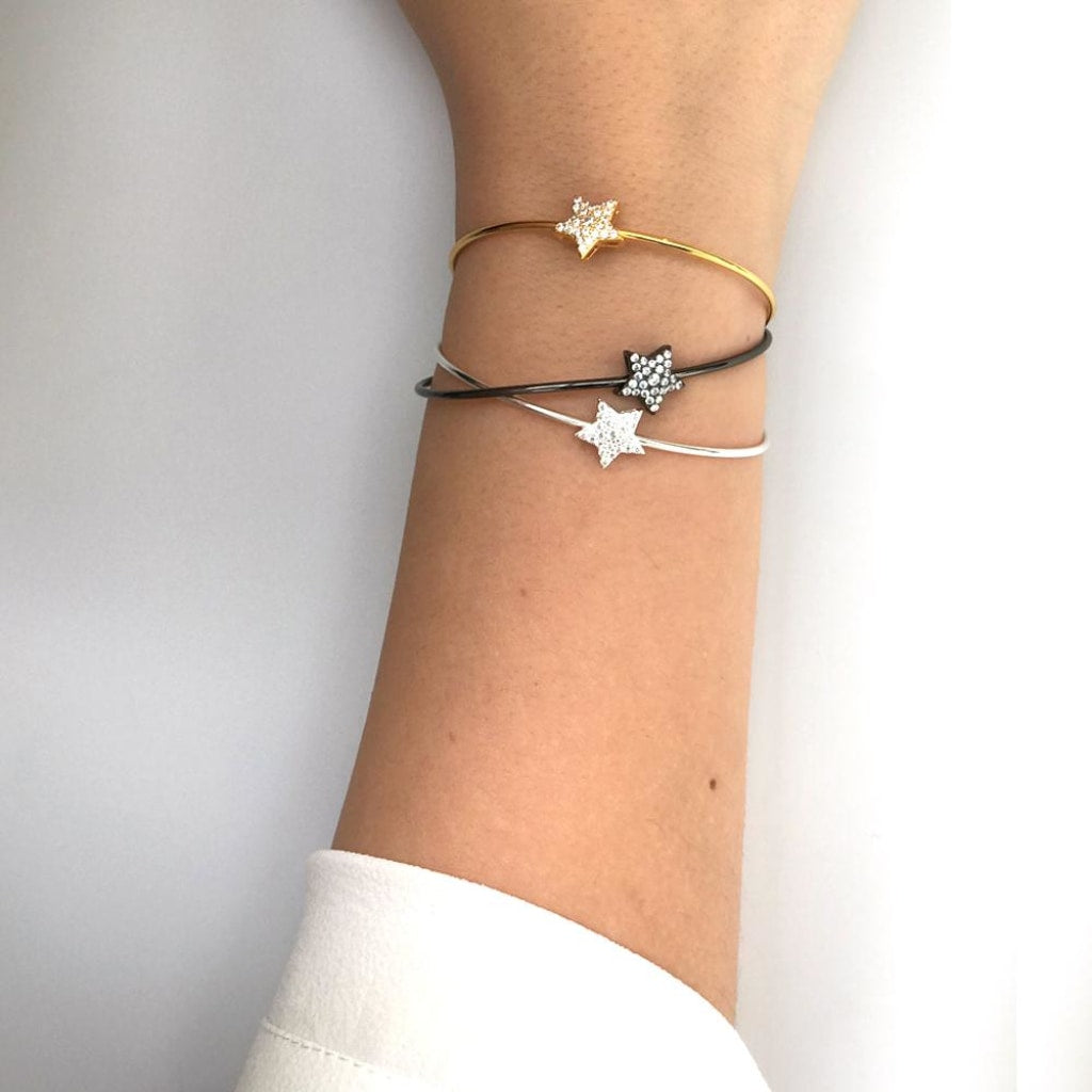 Feronia - Star Shine Bangle White Cz Gold Plated Silver