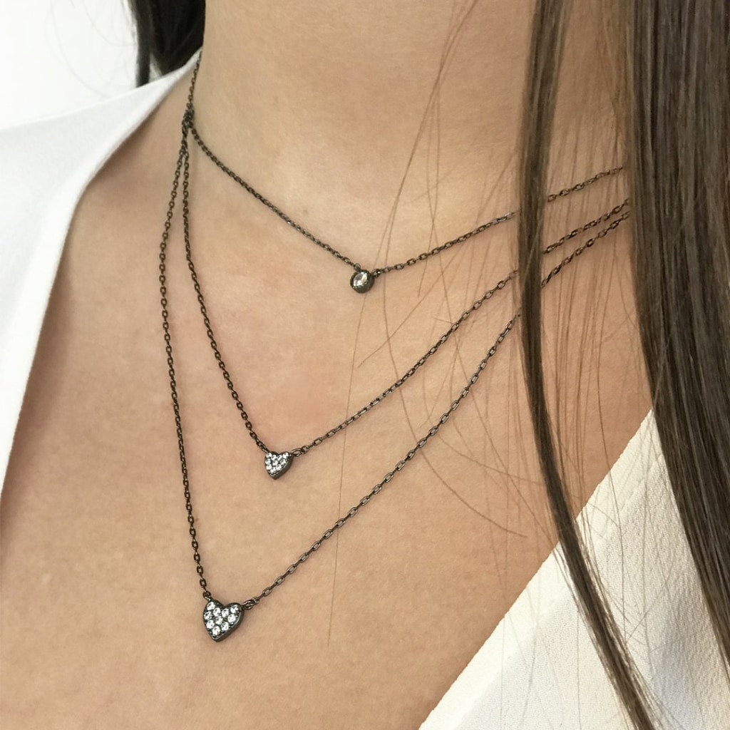 Feronia - Triple Shapes Necklace White Cz Black Rhodium Plated Silver
