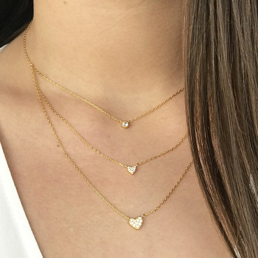 Feronia - Triple Shapes Necklace White Cz Gold Plated Silver
