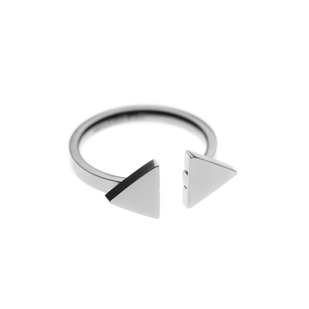 Ferro - Double Triangle Ring Stainless Steel Ion White Plating