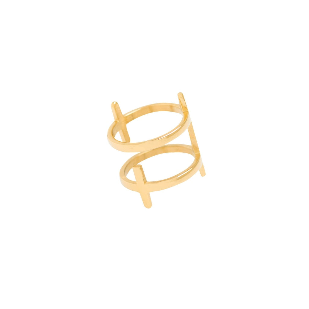 Ferro TI - Double Cross Ring - Stainless Steel Ion Gold Plating - Spirito Rosa | Βραβευμένα Κοσμήματα σε Απίστευτες Τιμές