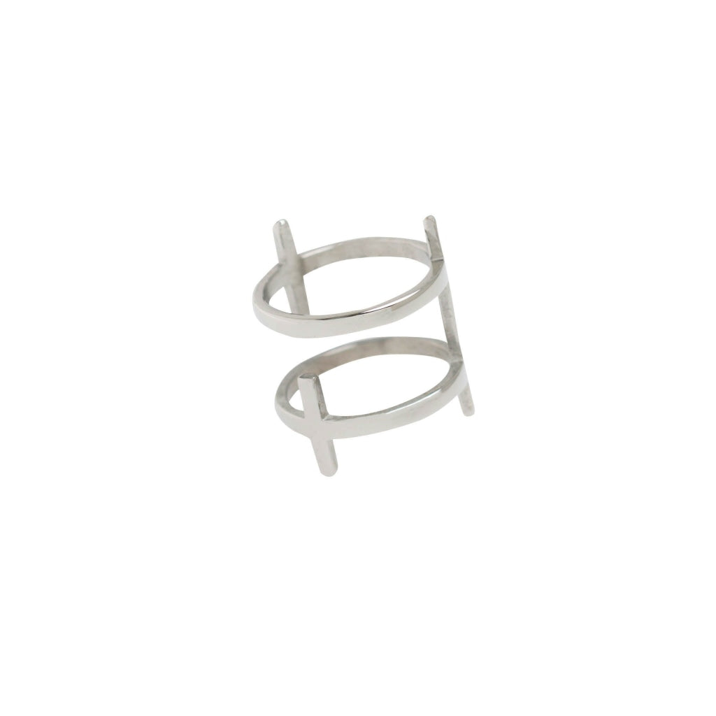 Ferro Ti - Double Cross Ring Stainless Steel Ion White Plating