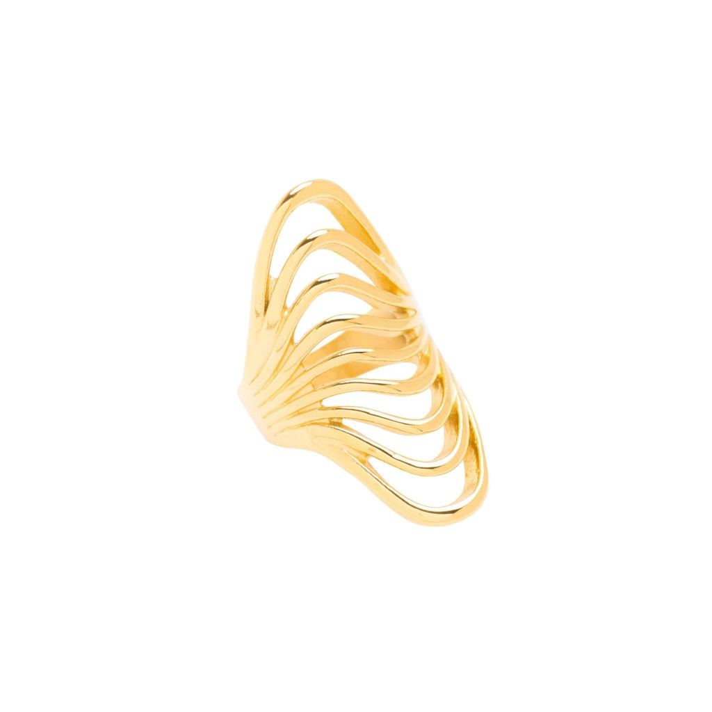 Ferro - Waves Ring Stainless Steel Ion Gold Plating