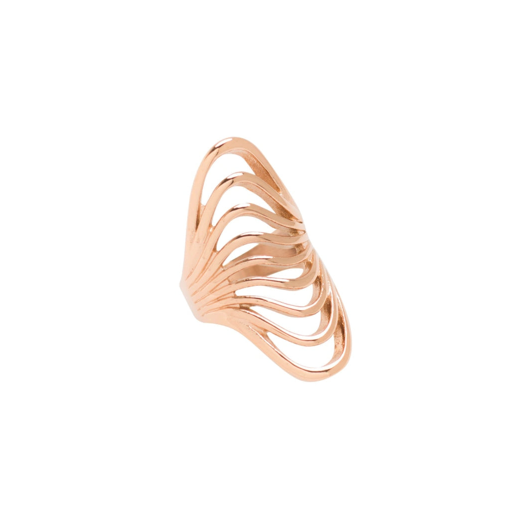 Ferro - Waves Ring - Stainless Steel Ion Rose Gold Plating - Spirito Rosa | Βραβευμένα Κοσμήματα σε Απίστευτες Τιμές