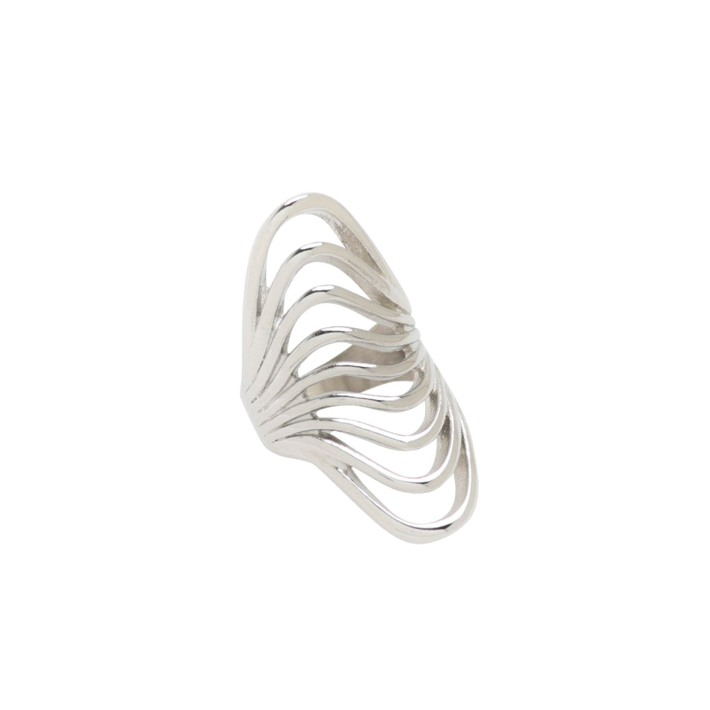 Ferro - Waves Ring Stainless Steel Ion White Plating