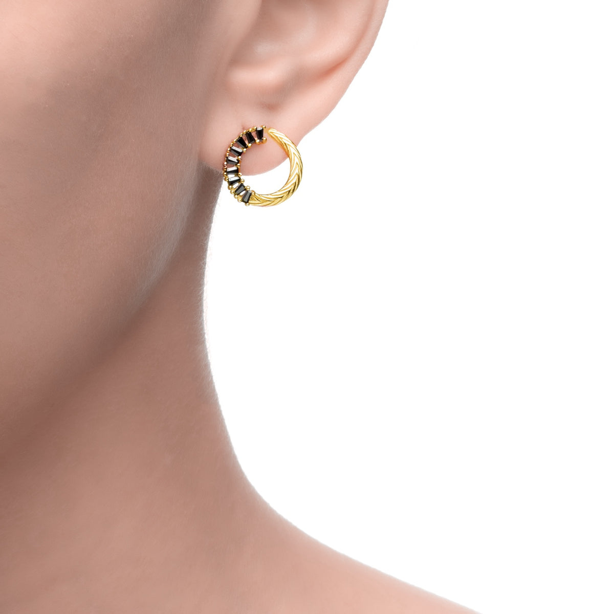 Egeria | Hibiscus Earrings | Black CZ | 14K Gold Plated 925 Silver