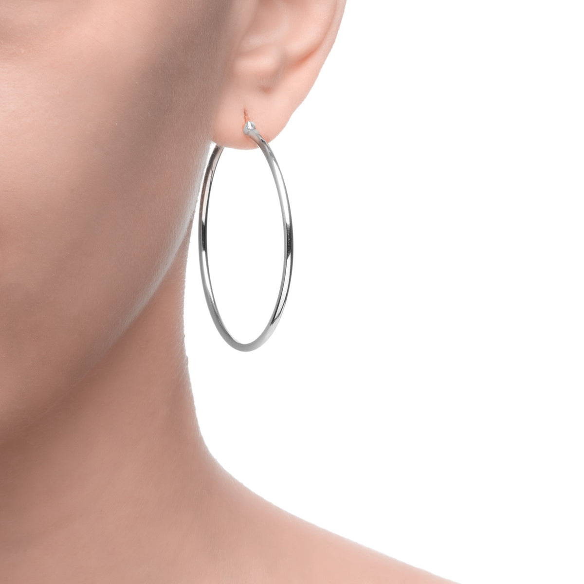 Magna | Teen Hoop Earrings | White Rhodium Plated 925 Silver