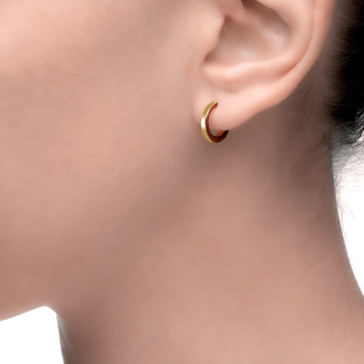 Cardea | Reishi Earrings | 925 Silver | Terra Cotta Red Enamel | 14K Gold Plated