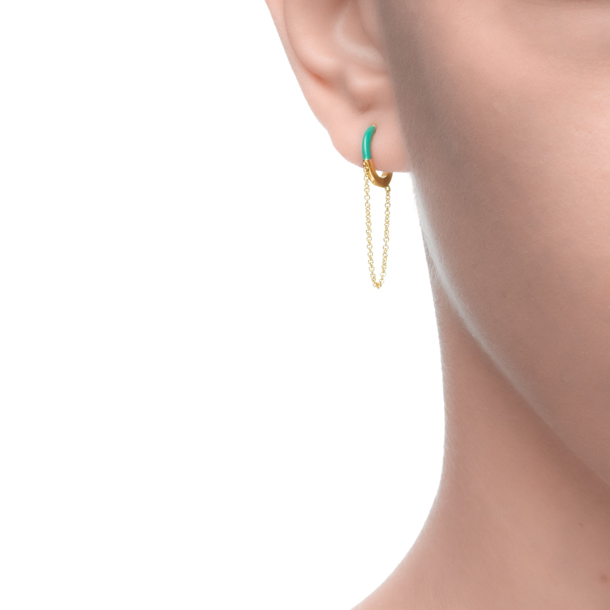 Cardea | Shimeji Earrings | 925 Silver | Turquoise Enamel | 14K Gold Plated