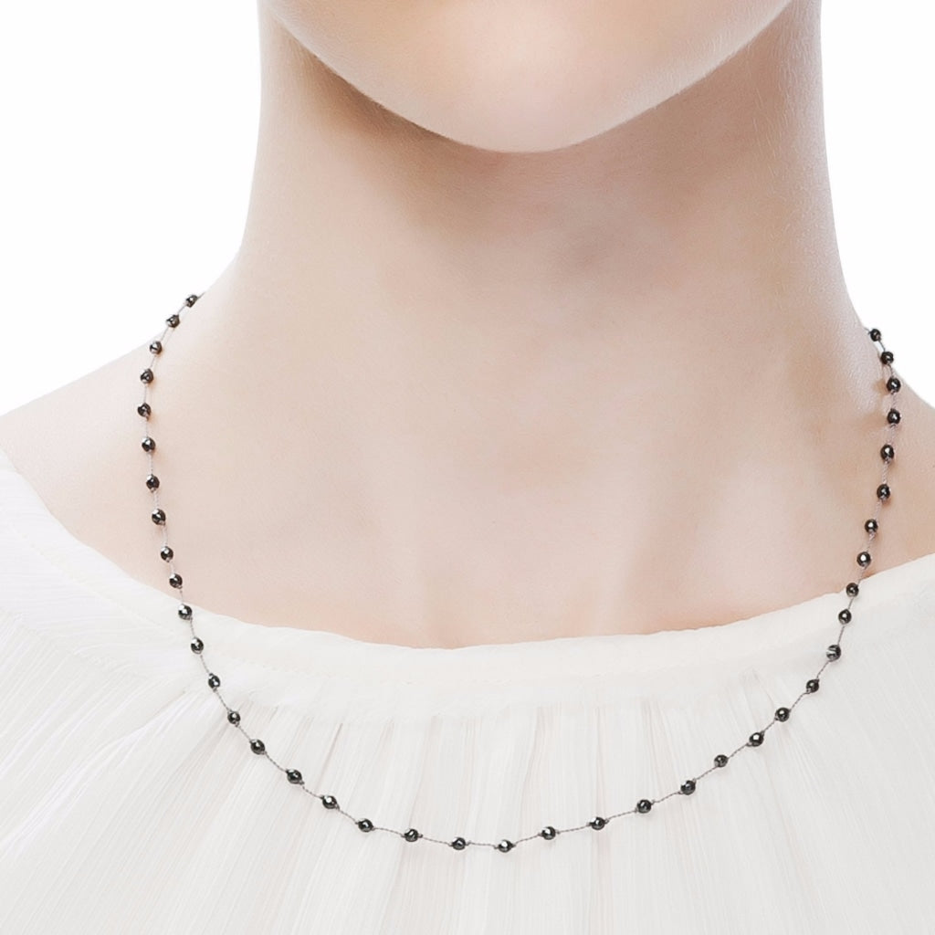 Hematite Rosary Style Short Necklace with Grey Thread - Spirito Rosa | Βραβευμένα Κοσμήματα σε Απίστευτες Τιμές