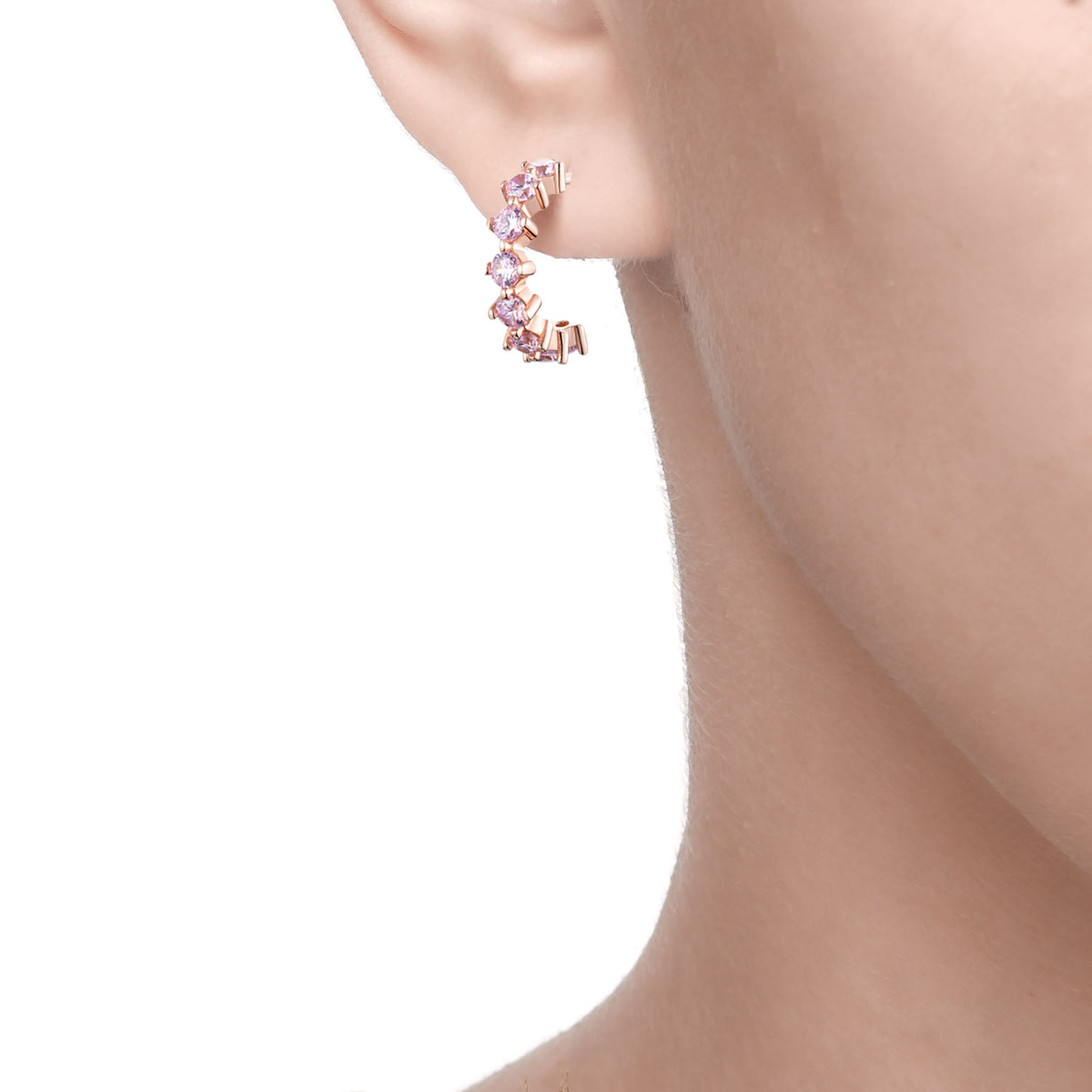 Ferentina | Tiramisu Earrings | 925 Silver | Pink CZ | Rose Gold Plated