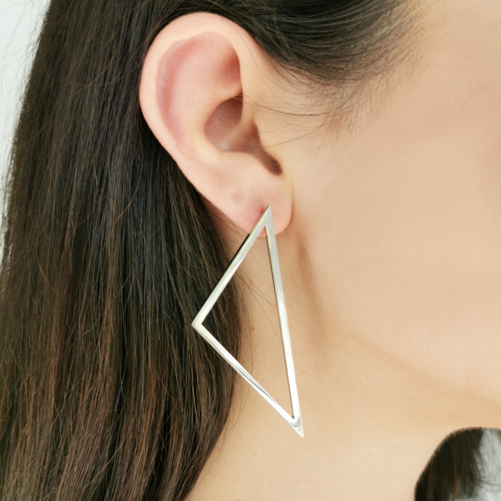 Decima -  Big Triangle Earrings - Stainless Steel Ion White Plating - Spirito Rosa | Βραβευμένα Κοσμήματα σε Απίστευτες Τιμές