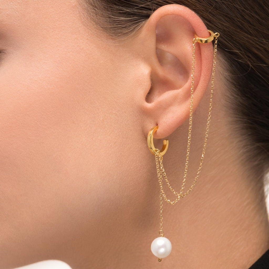 Omnia Double Cuff Drop Earring - White Pearl - Gold Plated Silver - Spirito Rosa | Βραβευμένα Κοσμήματα σε Απίστευτες Τιμές