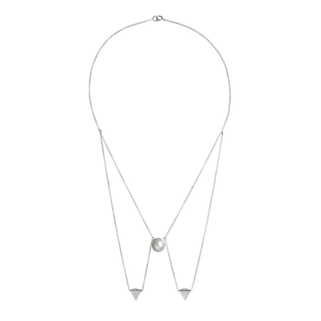 Omnia Papillon Short Necklace - White Pearl - White Rhodium Plated Silver - Spirito Rosa | Βραβευμένα Κοσμήματα σε Απίστευτες Τιμές