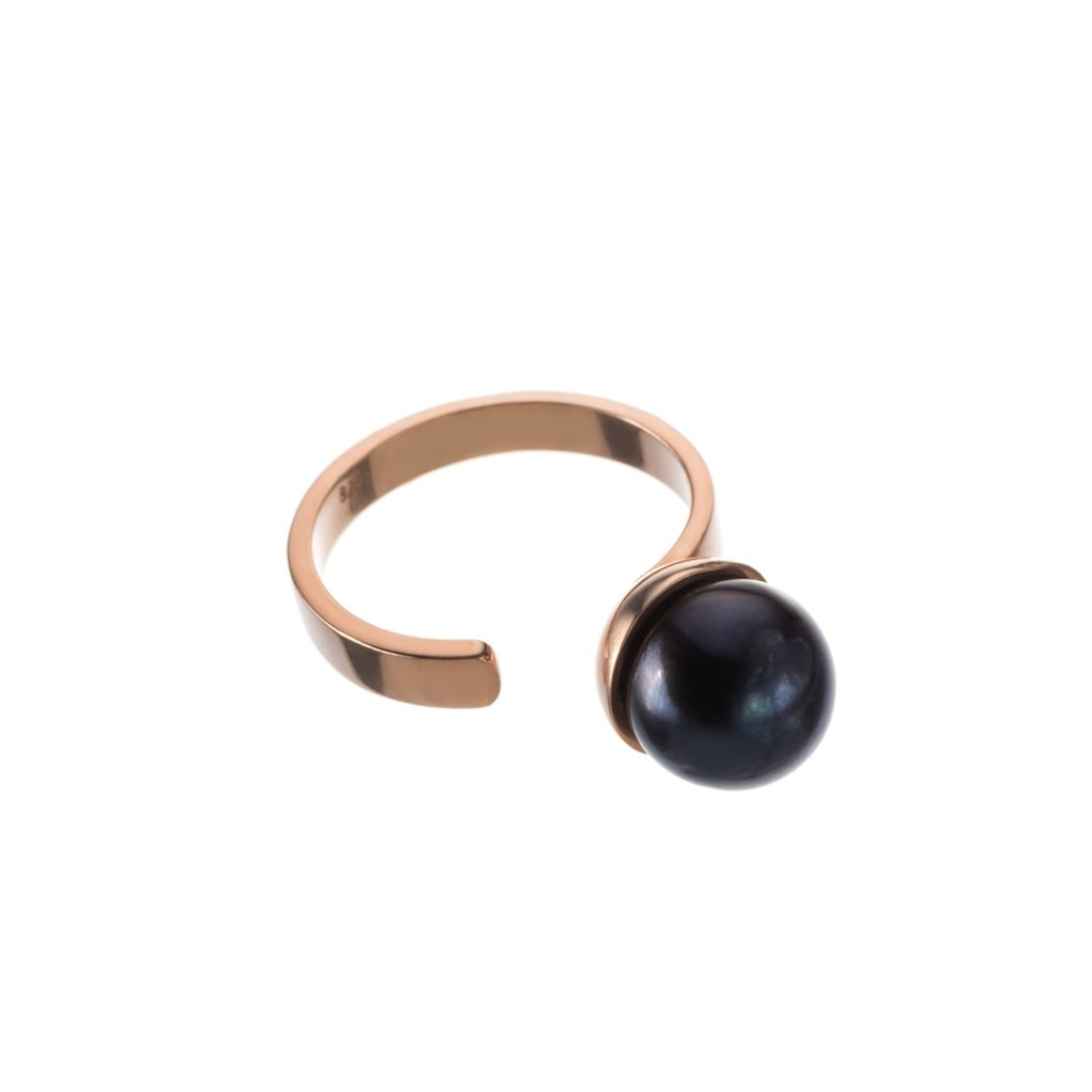 Omnia Pearl Ring - Black Rose Gold Plated Silver