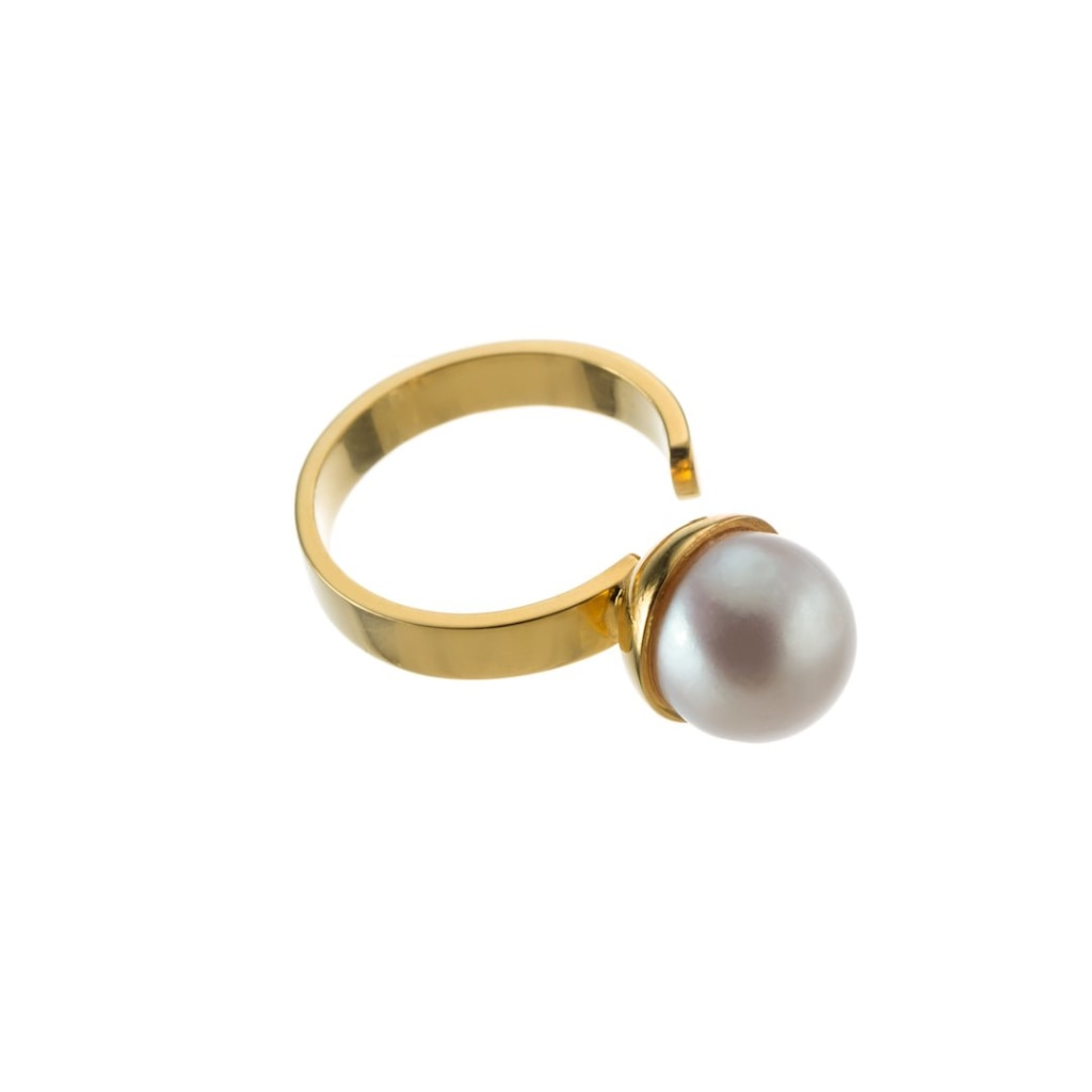 Omnia Pearl Ring - White Gold Plated Silver