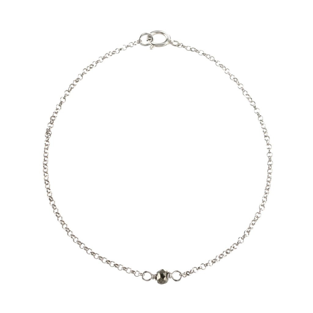 Omnia Solitaire Bracelet - Pyrite - White Rhodium Plated Silver - Spirito Rosa | Βραβευμένα Κοσμήματα σε Απίστευτες Τιμές