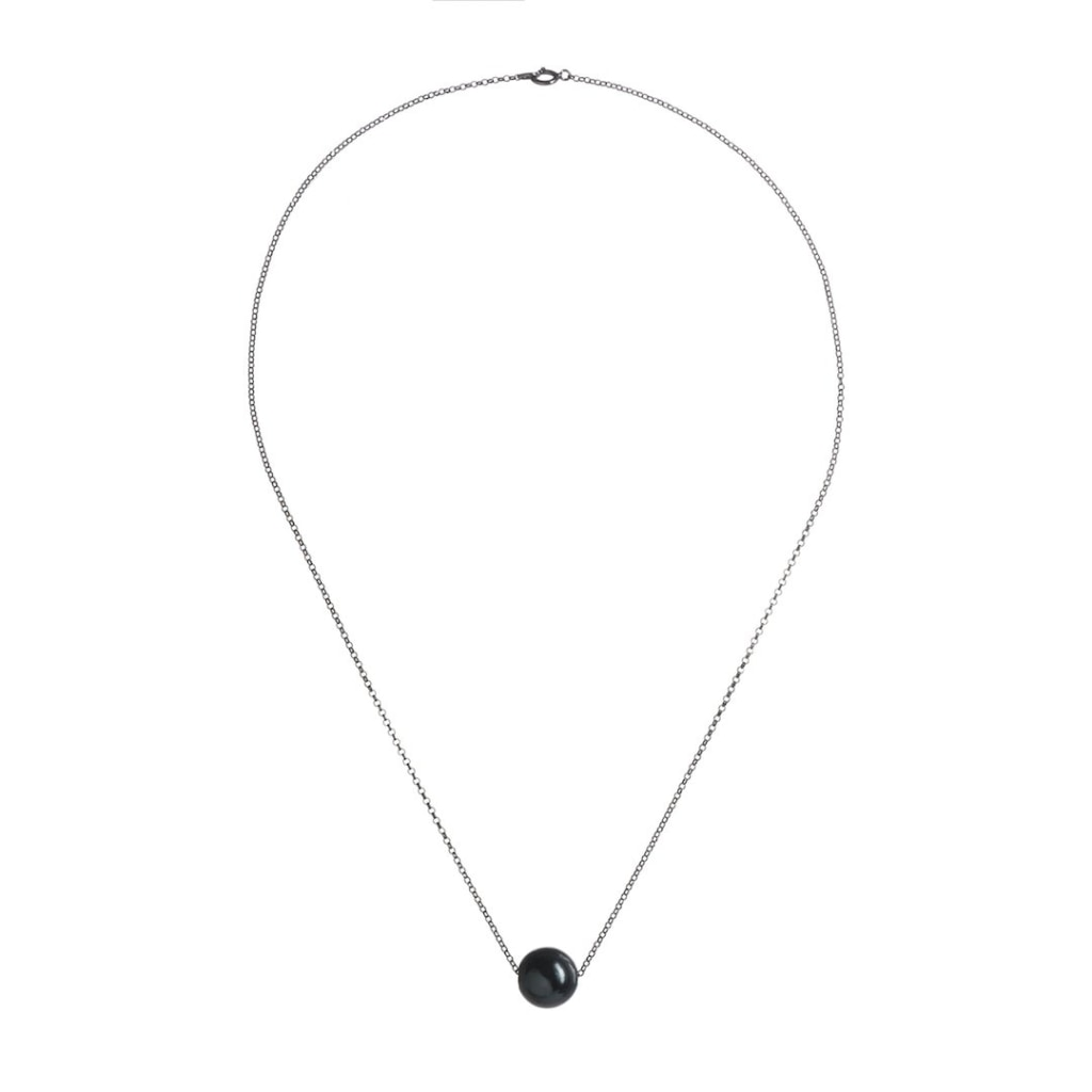 Omnia Solitaire Drop Necklace - Black Pearl Rhodium Plated Silver