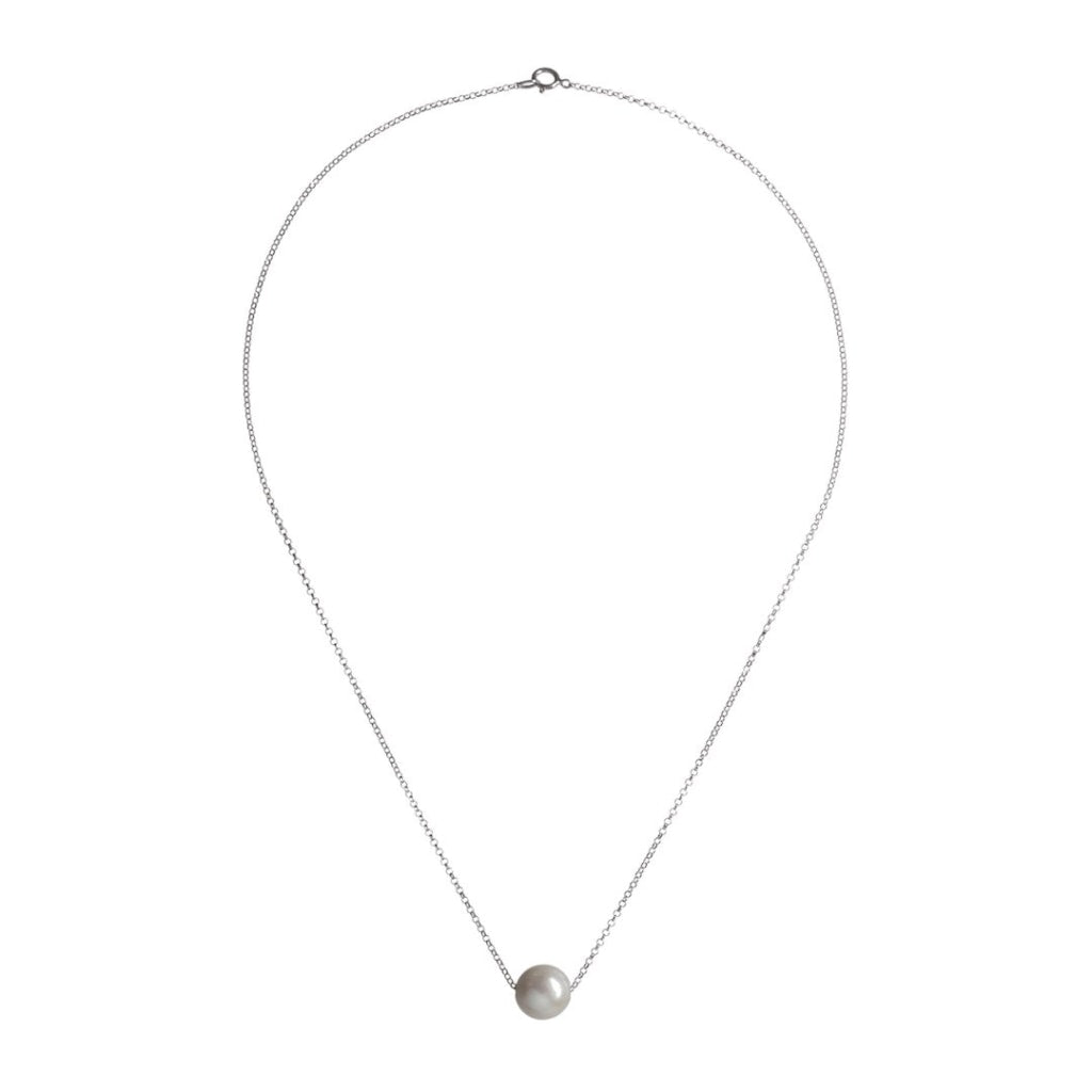 Omnia Solitaire Drop Necklace - White Pearl Rhodium Plated Silver