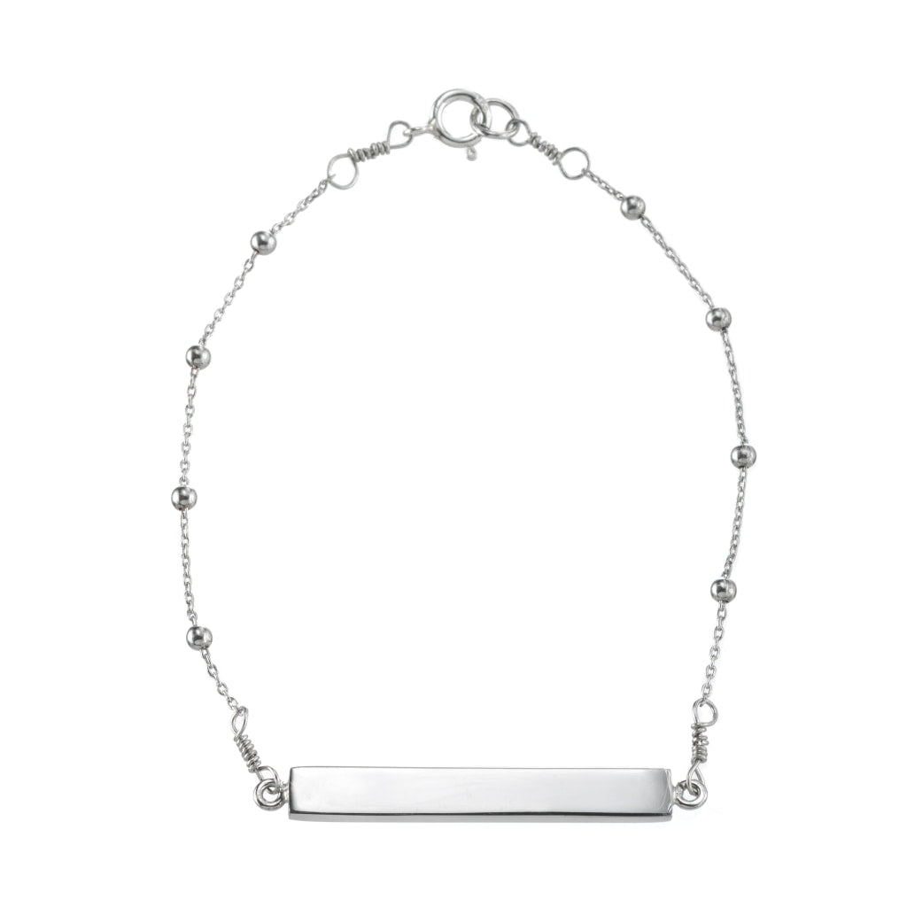 Omnia Sphere Chain Bar Bracelet - White Rhodium Plated Silver