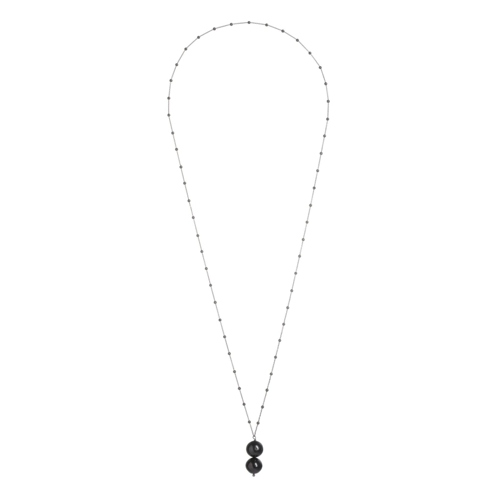 Omnia - Sphere Chain Double Drop Necklace Black Pearl Rhodium Plated Silver
