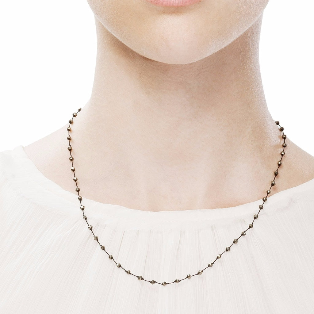 Pyrite Rosary Style Short Necklace with Black Thread - Spirito Rosa | Βραβευμένα Κοσμήματα σε Απίστευτες Τιμές