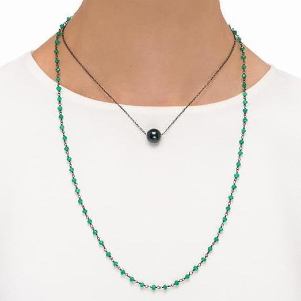 Solitaire Drop Double Necklace - Black Pearl & Green Onyx - Black Rhodium Plated Silver - Spirito Rosa | Βραβευμένα Κοσμήματα σε Απίστευτες Τιμές