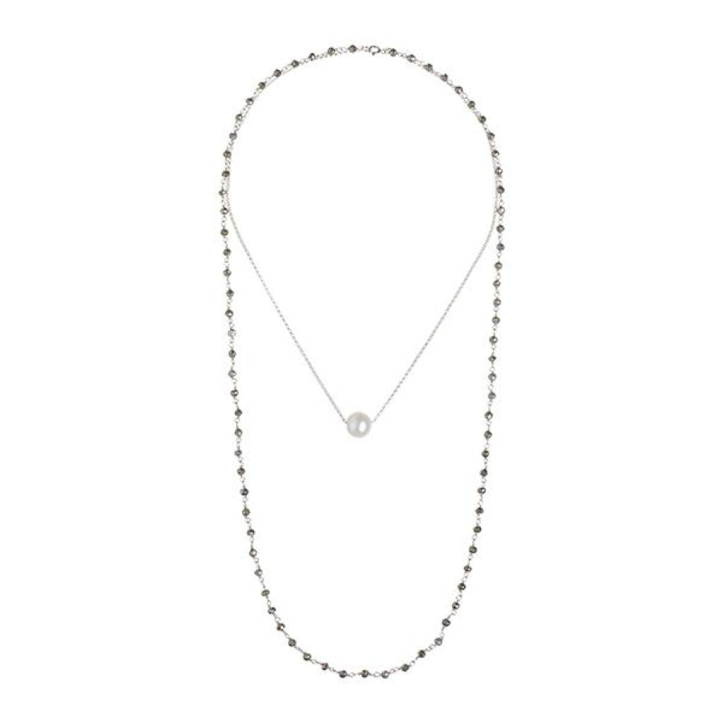 Solitaire Drop Double Necklace - White Pearl & Pyrite Rhodium Plated Silver
