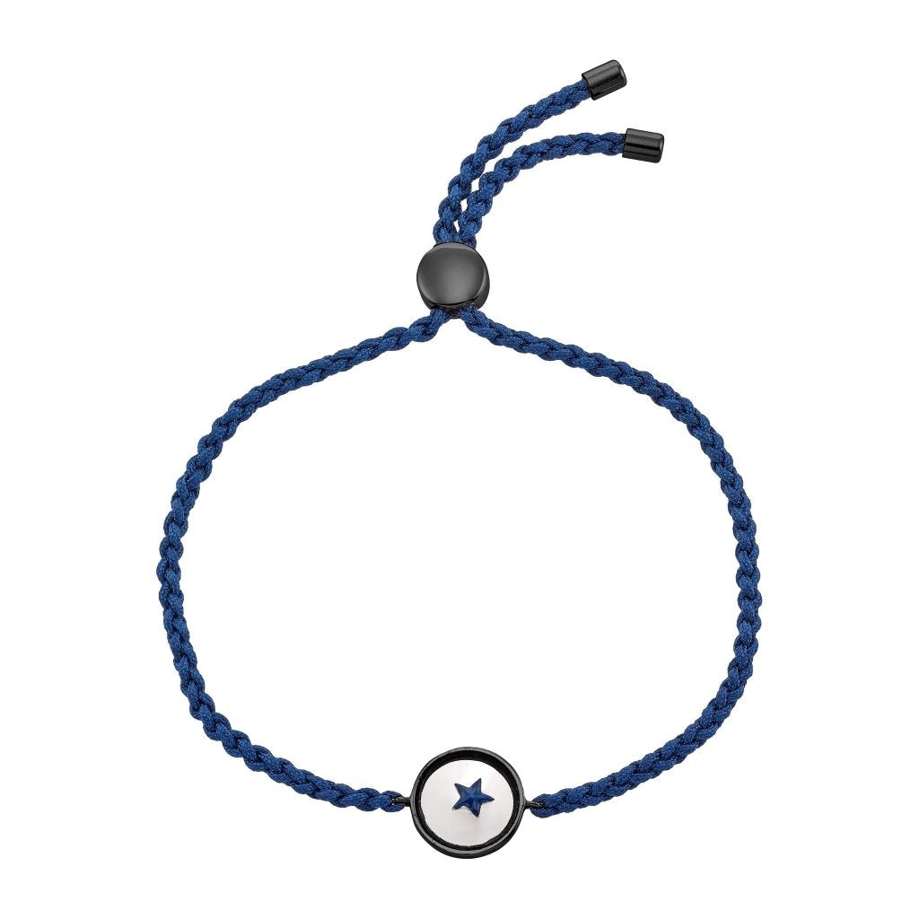 Spirito Rosa X Queen Dina Blue Star Bracelet | Painted Glass | Black Rhodium Plated 925 Silver & Navy Blue Thread - Spirito Rosa | Βραβευμένα Κοσμήματα σε Απίστευτες Τιμές