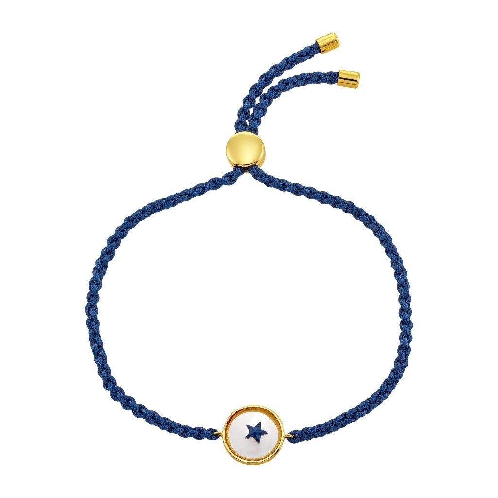 Spirito Rosa X Queen Dina Blue Star Bracelet | Painted Glass | Gold Plated 925 Silver & Navy Blue Thread