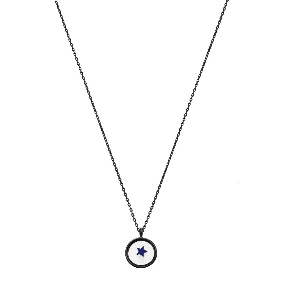 Spirito Rosa X Queen Dina Blue Star Necklace | Black Rhodium Plated 925 Silver - Spirito Rosa | Βραβευμένα Κοσμήματα σε Απίστευτες Τιμές
