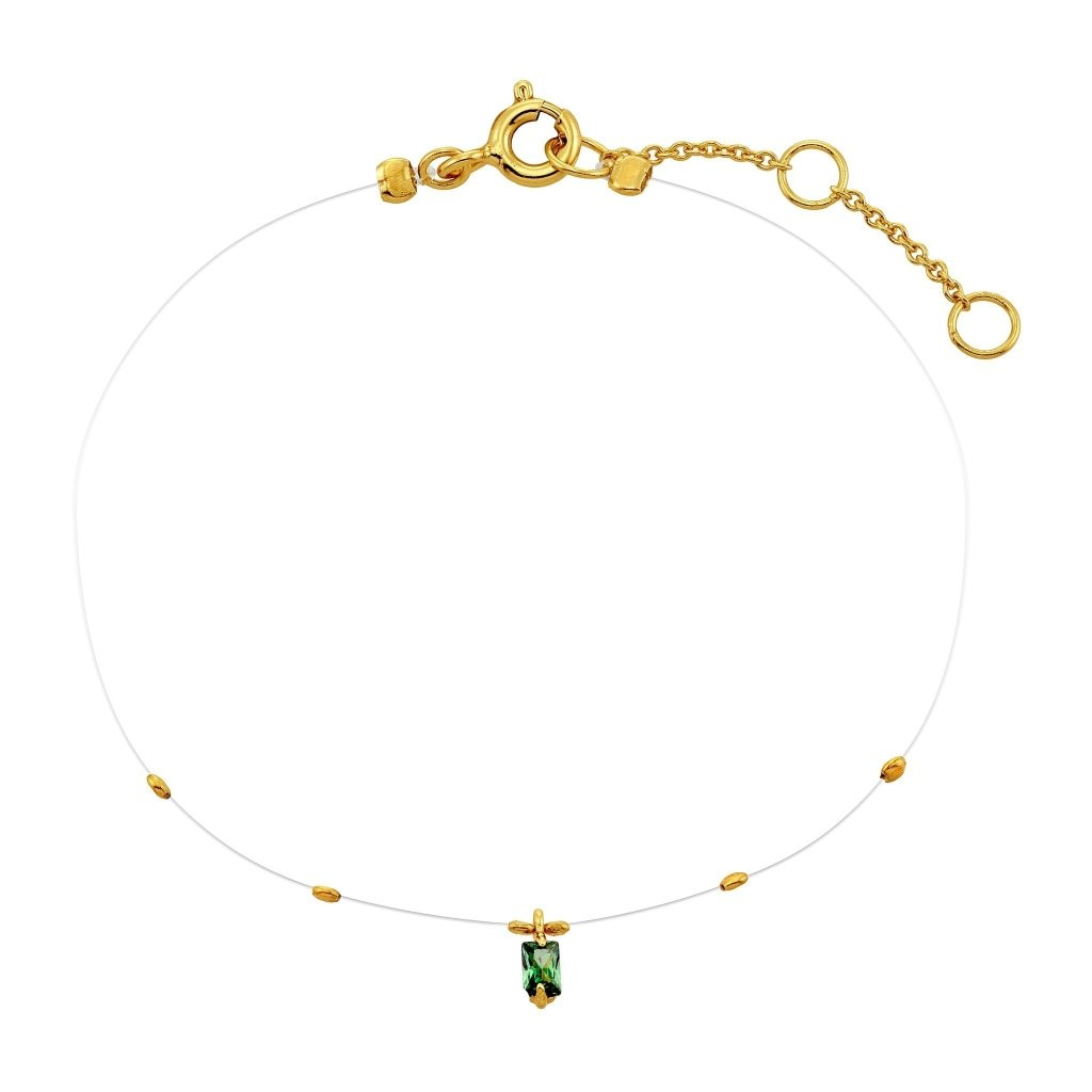 Spirito Rosa X Queen Dina Floating Bracelet | Emerald CZ | Gold Plated 925 Silver - Spirito Rosa | Βραβευμένα Κοσμήματα σε Απίστευτες Τιμές