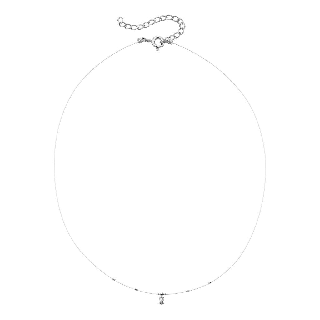 Spirito Rosa X Queen Dina Floating Necklace | White CZ | White Rhodium Plated 925 Silver - Spirito Rosa | Βραβευμένα Κοσμήματα σε Απίστευτες Τιμές