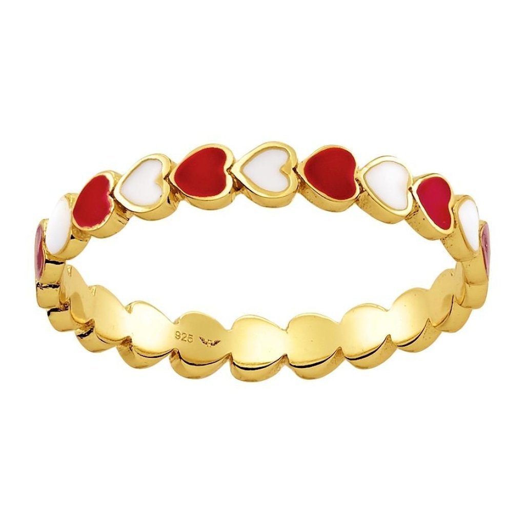 Spirito Rosa X Queen Dina He Loves Me Ring | Red & White Enamel | Gold Plated 925 Silver - Spirito Rosa | Βραβευμένα Κοσμήματα σε Απίστευτες Τιμές