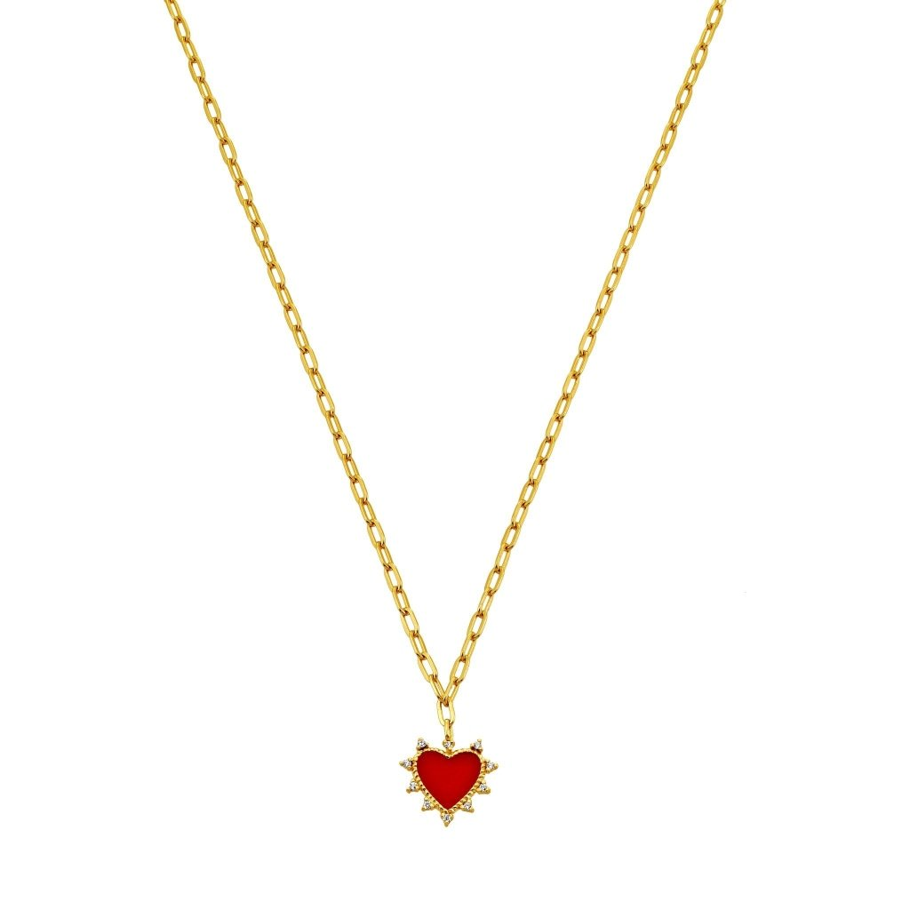 Spirito Rosa X Queen Dina Hollywood Heart Necklace | White CZ / Red Enamel | Gold Plated 925 Silver - Spirito Rosa | Βραβευμένα Κοσμήματα σε Απίστευτες Τιμές