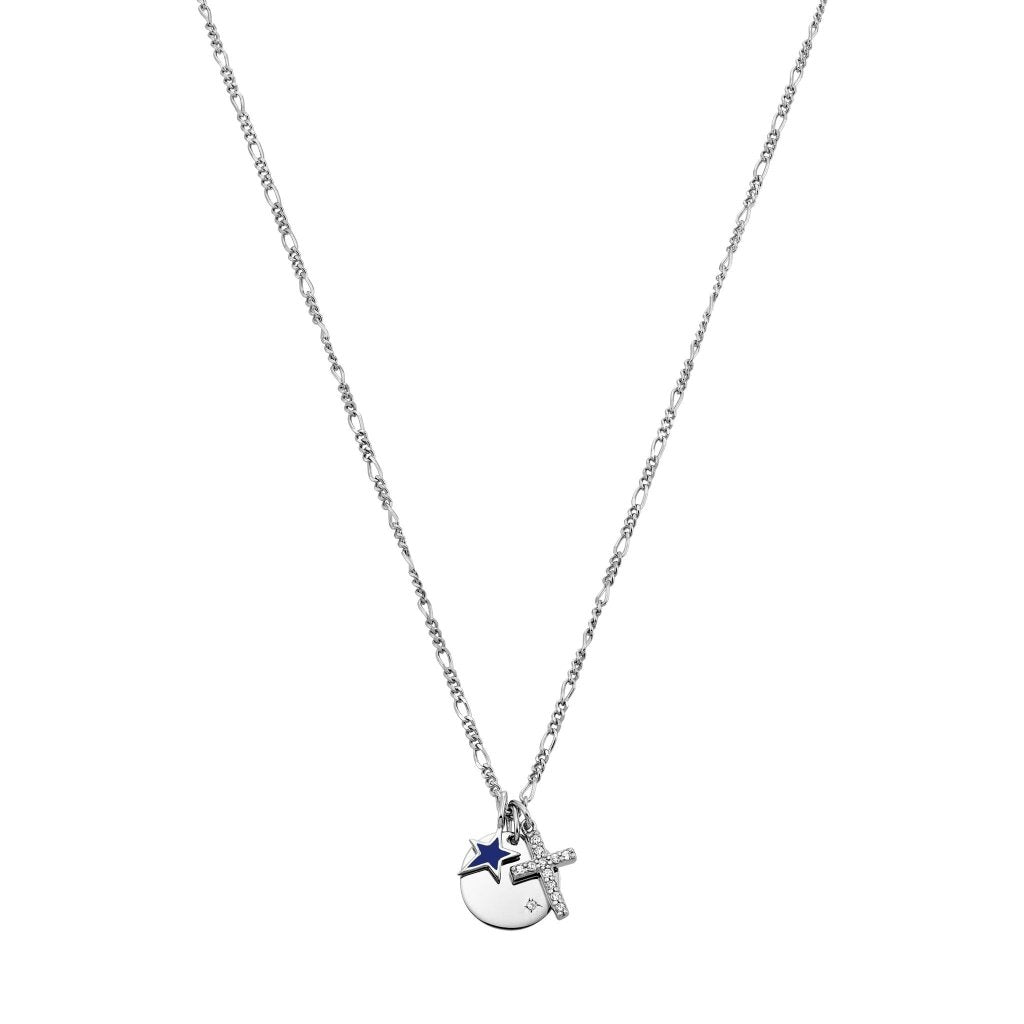 Spirito Rosa X Queen Dina Keep Your Faith Necklace | White CZ / Navy Blue Enamel | White Rhodium Plated 925 Silver - Spirito Rosa | Βραβευμένα Κοσμήματα σε Απίστευτες Τιμές