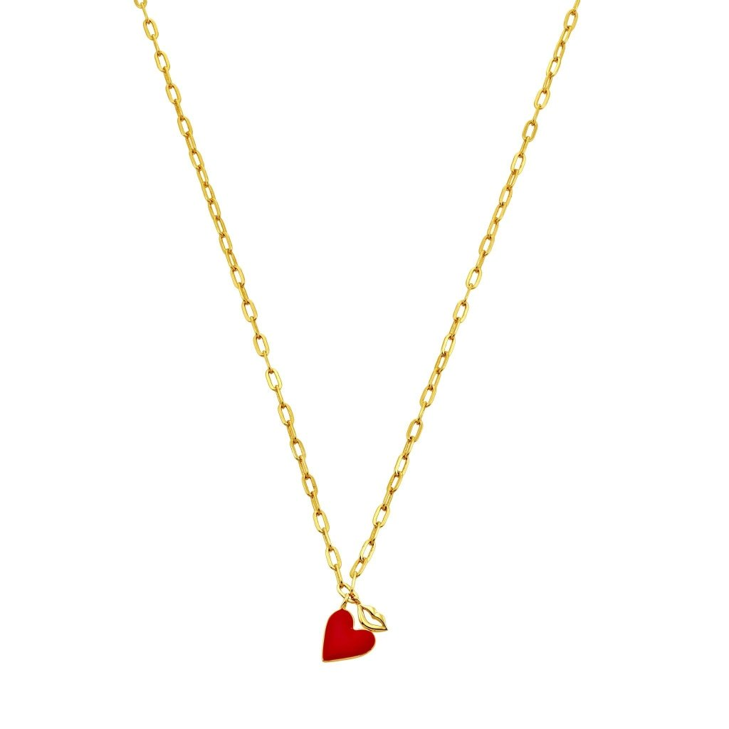 Spirito Rosa X Queen Dina Kiss My Heart Necklace | Red Enamel | Gold Plated 925 Silver - Spirito Rosa | Βραβευμένα Κοσμήματα σε Απίστευτες Τιμές