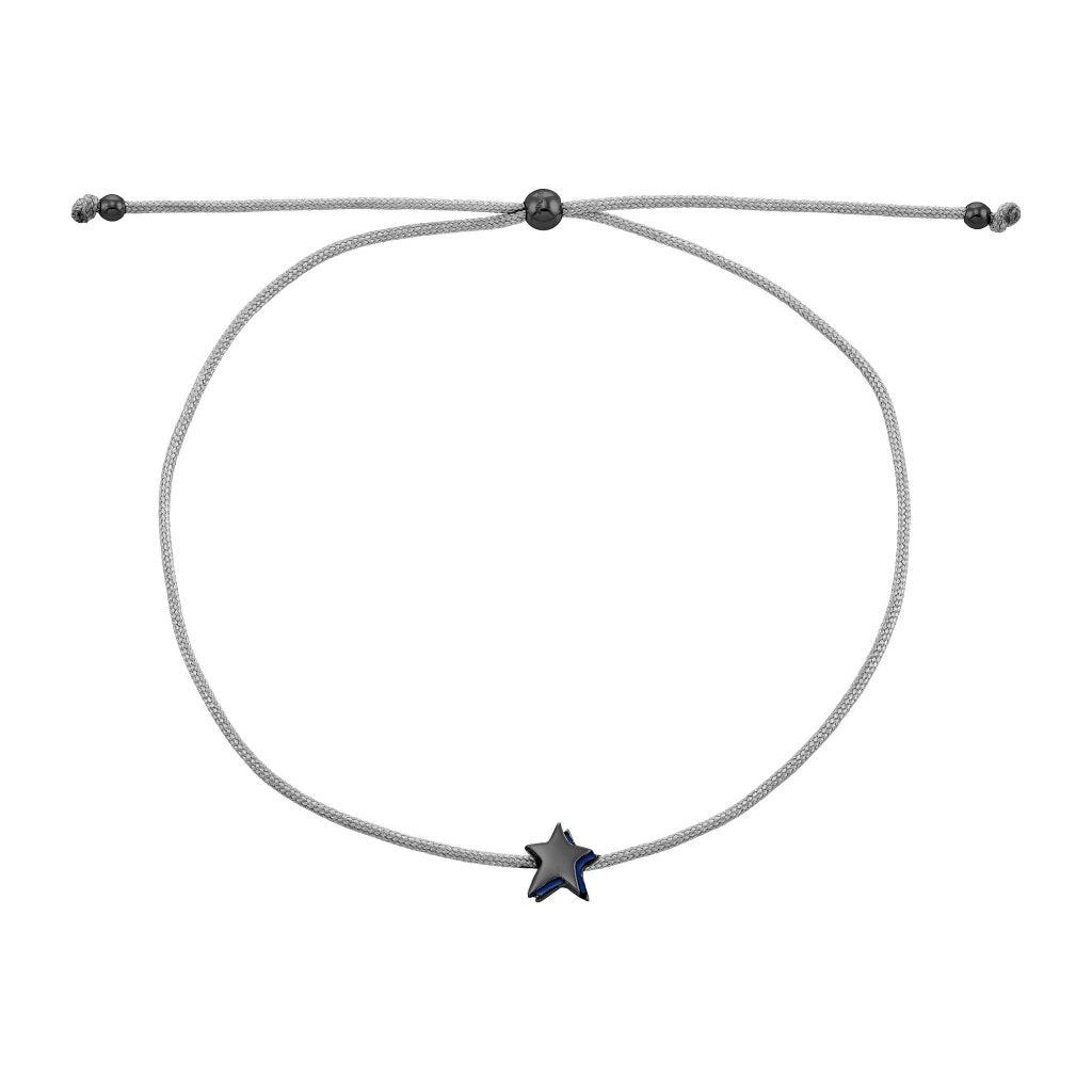 Spirito Rosa X Queen Dina Night Star Bracelet | Navy Blue Enamel | Black Rhodium Plated 925 Silver & Light Grey Thread - Spirito Rosa | Βραβευμένα Κοσμήματα σε Απίστευτες Τιμές