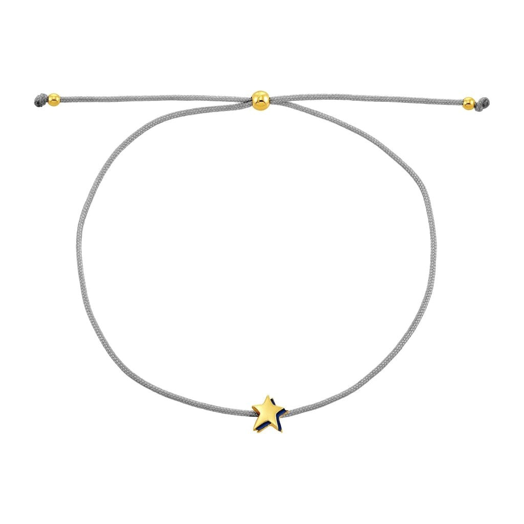 Spirito Rosa X Queen Dina Night Star Bracelet | Navy Blue Enamel | Gold Plated 925 Silver & Light Grey Thread - Spirito Rosa | Βραβευμένα Κοσμήματα σε Απίστευτες Τιμές