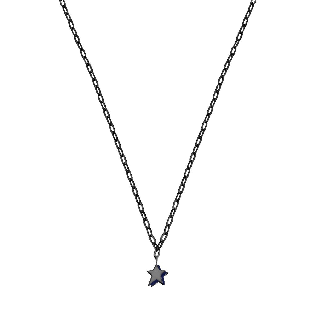 Spirito Rosa X Queen Dina Night Star Necklace | Navy Blue Enamel | Black Rhodium Plated 925 Silver - Spirito Rosa | Βραβευμένα Κοσμήματα σε Απίστευτες Τιμές