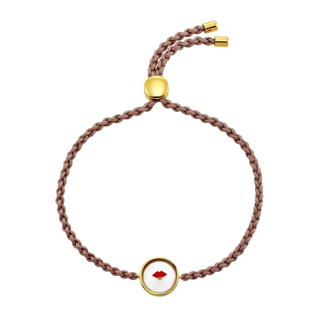 Spirito Rosa X Queen Dina Red Kiss Bracelet | Painted Glass | Gold Plated 925 Silver & Dusty Pink Thread - Spirito Rosa | Βραβευμένα Κοσμήματα σε Απίστευτες Τιμές