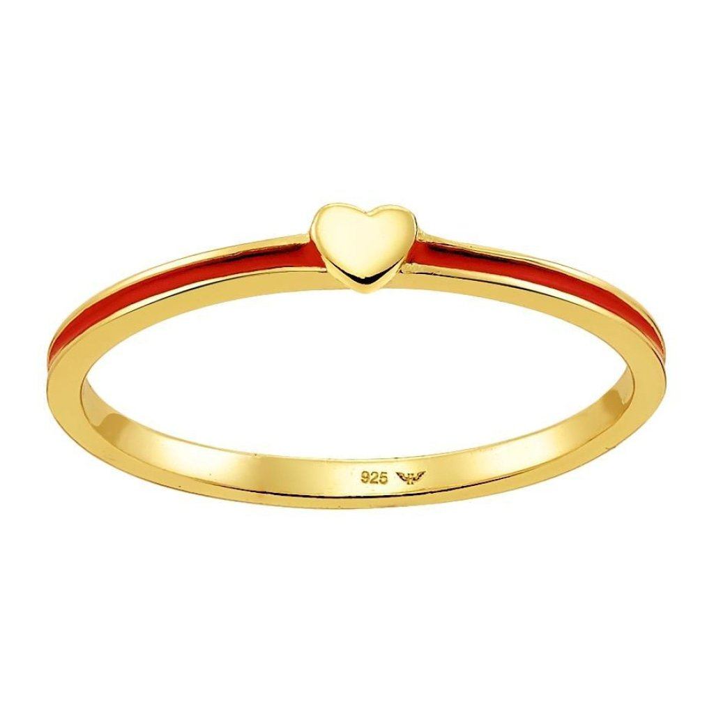 Spirito Rosa X Queen Dina Tiny Heart 2 Ring | Red Enamel | Gold Plated 925 Silver - Spirito Rosa | Βραβευμένα Κοσμήματα σε Απίστευτες Τιμές