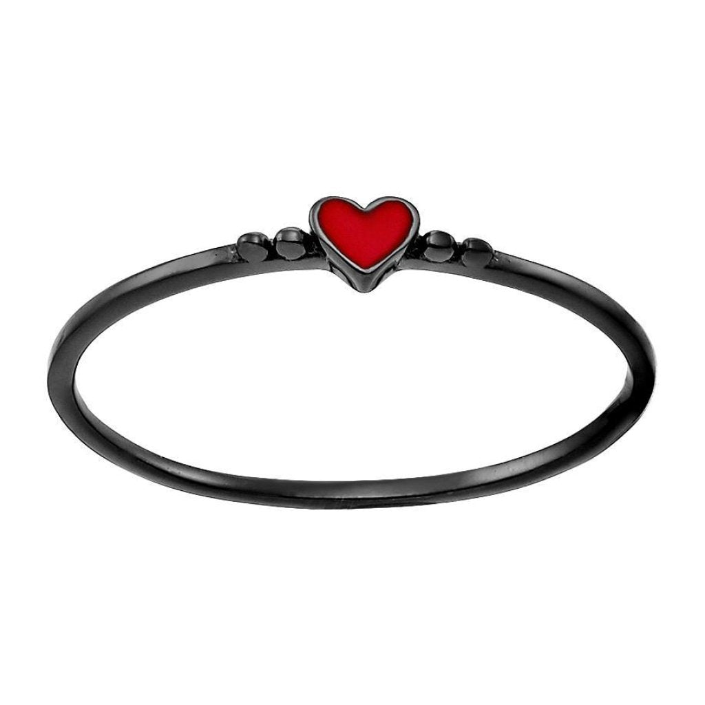 Spirito Rosa X Queen Dina Tiny Heart Ring | Red Enamel | Black Rhodium Plated 925 Silver - Spirito Rosa | Βραβευμένα Κοσμήματα σε Απίστευτες Τιμές