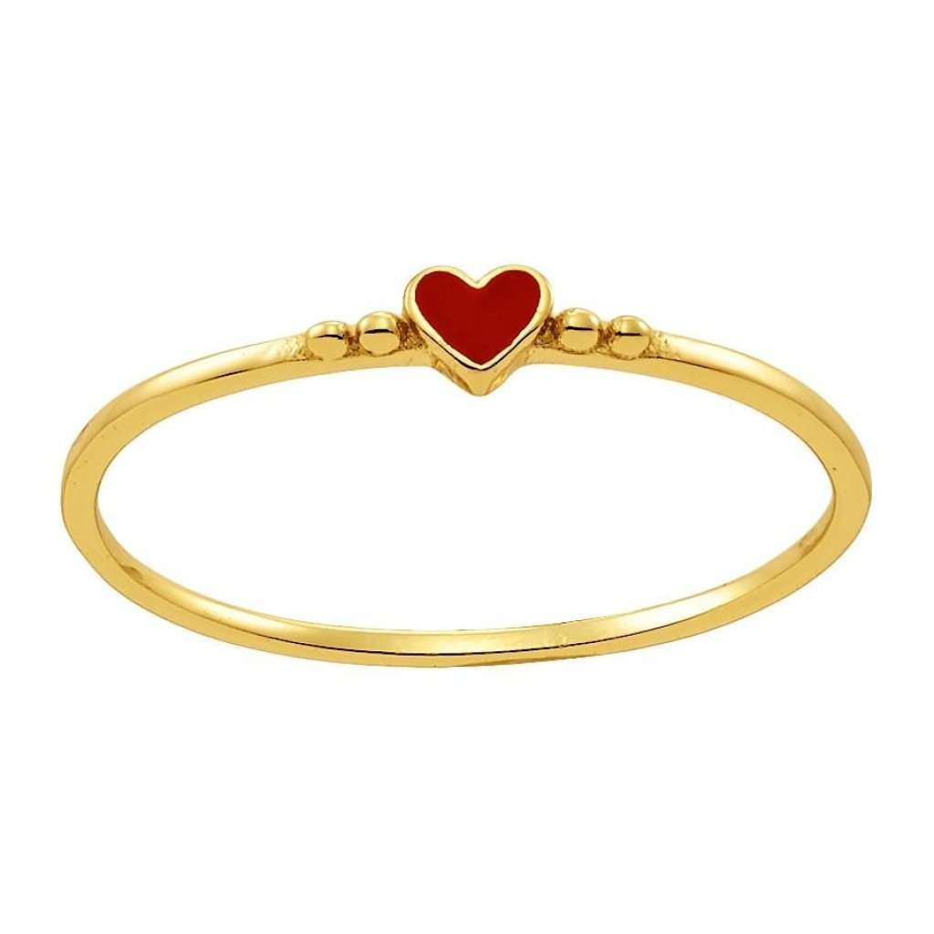 Spirito Rosa X Queen Dina Tiny Heart Ring | Red Enamel | Gold Plated 925 Silver - Spirito Rosa | Βραβευμένα Κοσμήματα σε Απίστευτες Τιμές