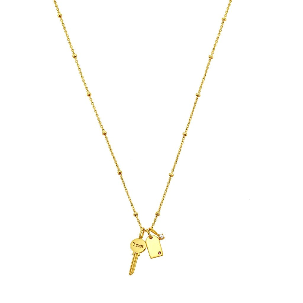 Spirito Rosa X Queen Dina Unlock Your Heart Necklace | Ruby CZ / White Pearl | Gold Plated 925 Silver