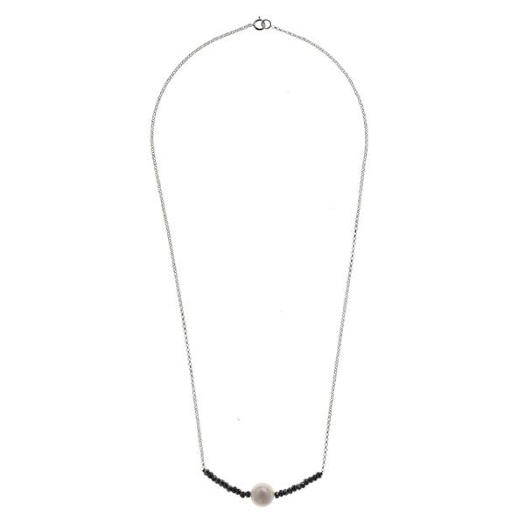 Tantum Solitaire Short Necklace - White Pearl & Hematite - White Rhodium Plated Silver - Spirito Rosa | Βραβευμένα Κοσμήματα σε Απίστευτες Τιμές